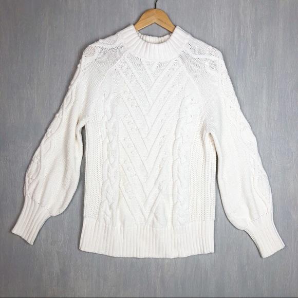9de73837981de NWT Loft cable knit puff sleeve sweater white L